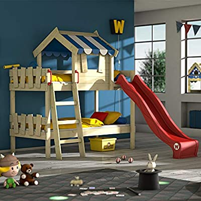 WICKEY Bunk beds Crazy Circus Children`s Bed loft Bed with Slide, roof and slatted Bed Base