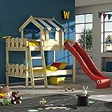 WICKEY Lits superposés CrAzY Circus lit mezzanine lit enfant avec toboggan, toit et sommier à lattes, bâche bleu + toboggan rouge, 90x200 cm