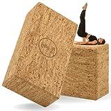 ELLEMA Yoga Block [100% Kork] - Yogablock 2er Set für Anfänger und Fortgeschrittene + Online-Trainingsvideos und E-Book - Yogaklotz für Pilates - Rutschfester Fitness Yoga Klotz (2er)