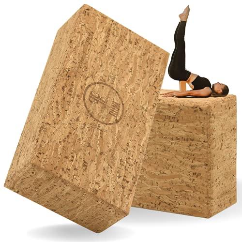 ELLEMA Yoga Block [100% Kork] - Yogablock 2er Set für Anfänger und Fortgeschrittene + Online-Trainingsvideos und E-Book - Yogaklotz für Pilates -...
