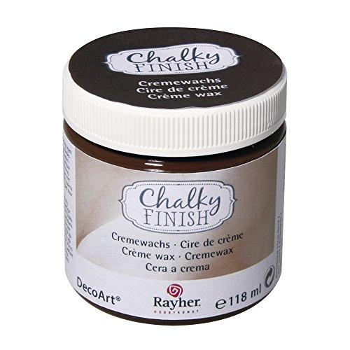 RAYHER 38870552 Chalky Finish Cremewachs, Dose 118 ml, dunkelbraun