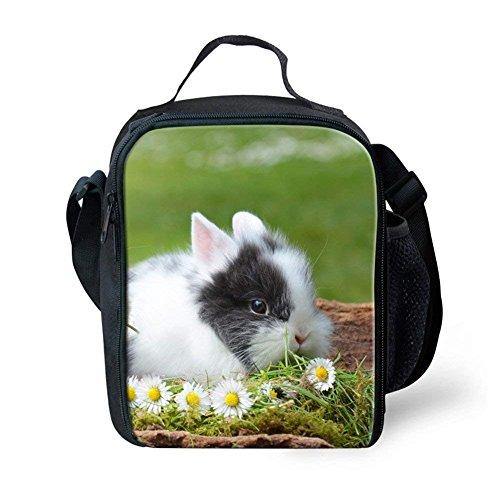 Nopersonality isotherme Sac de déjeuner pour enfant mignon lapin Imprimé Boîte à lunch Lot Sac à main, Polyester, Rabbit Print-8, S