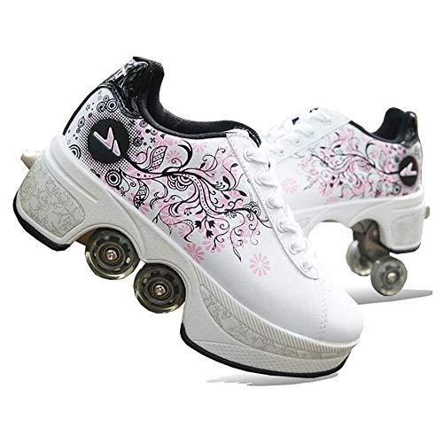 Pinkskattings@ Damen Und Mädchen Rollschuhe Skateboard Schuhe Kinderschuhe Mit Rollen Skate Shoes Rollen Schuhe Sportschuhe Laufschuhe Sneakers Mit Rollen Kinder (Weiß