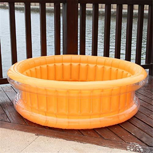 FLYFO Innen Schwimmbad, Baby Kinder Aufblasbar Runden Schwimmbad PVC Ozean Bällebad Badewanne Draussen Innen Wasser Spaß Spielen,Orange