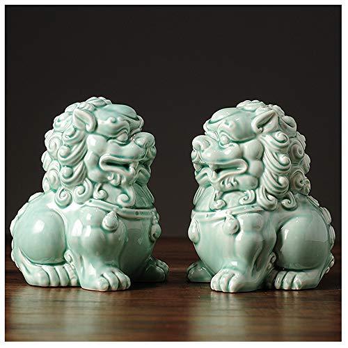 QMZDXH Feng Shui Lion Statues, Pair of Guardian Lions, Fu Foo Dogs for Cash Register, Office Desk, House Warming, Store Opening Gift Best Housewarming Congratulatory Gift