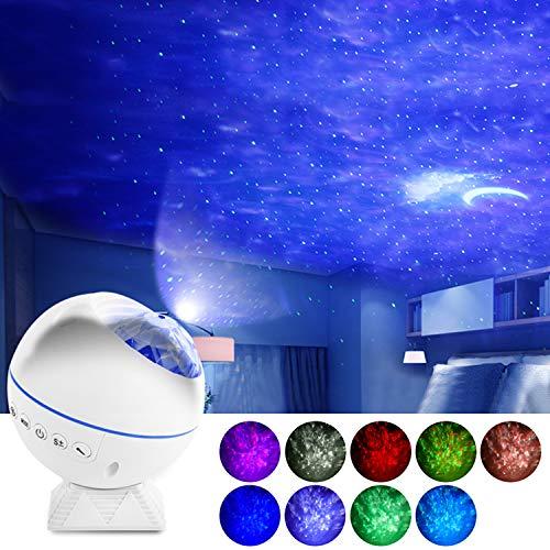 Proyector de luz LED de cielo estrellado GreenSun, proyector de ondas oceánicas, rotación de 360°, luz de luna con mando a distancia, lámpara para fiestas, dormitorio, juegos, Navidad