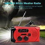 Outdoor Solar Radio, Multifunktion Tragbares Outdoor Radio Kurbelradio für Notfälle,mit AM/FM Wetter Radio, mit LED Taschenlampe/mit 2000mAh Eingebaute Batterie Power Bank, Notfall SOS Alarm - 6