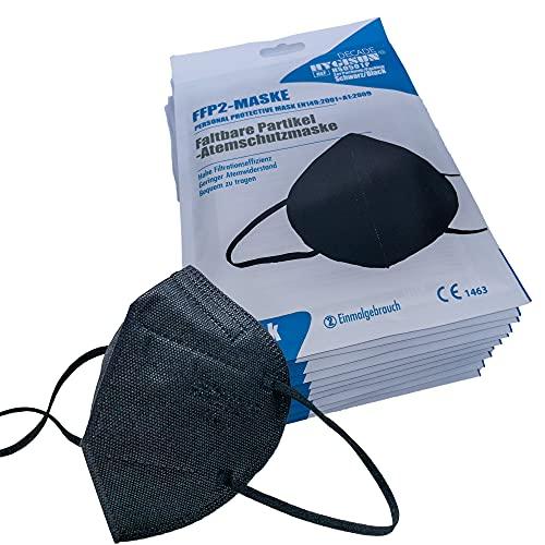 FFP2 Maske Schwarz DECADE Edition by Hygisun [20x| FFP2 Maske durch Stelle 2797 KN95 Maske, Atemschutz-Maske FFP2 Masken, EINZELVERPACKT, Masken Mundschutz FFP2, Mund Nasen Schutzmaske