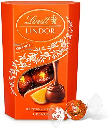Lindt Lindor Milk Orange Chocolate Truffles Box - Approximately 16 Balls, 200 g - The Ideal Gift - Chocolate Balls with a Smooth Melting Filling