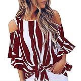 OKJI - Altavoz para mujer, cuello redondo, manga 3/4, diseño a rayas verticales, estilo casual Rojo rojo vino XXL