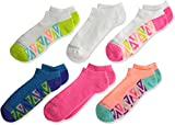 Fruit of the Loom Girls' Big Everyday Active No Show Socks-6 Pair Pack, White, Pink, Purple, Blue, Green, Teal, Shoe Size: 10.5-4