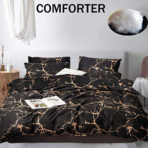 Jumeey Black and Gold Comforter Set Full Orange Gold Marble Print Bedding Queen Women Men Teens Boys Abstract Marble Pattern Comforters Modern Chic Black Grey Yellow Gothic Comforter Quilt Sets Cotton