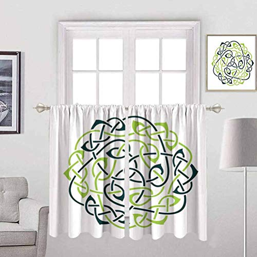 Becanbe Small Curtains W 55' x H 63',for Bedroom Curtains Celtic,Digital Large Celtic Knots Pattern in Vintage Design Irish Folk Design Art Print,Green