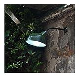 Aire Libre Apliques de pared Industrial Lámpara de Pared con Verde Esmalte Sombra Exterior Apliques Vintage Antiguo lámpara de jardín Impermeable IP45 para Escaleras Pasillo Balcón Fuera de Pared,A