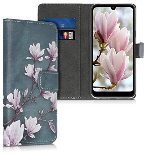 kwmobile Funda Compatible con LG Q60 - Carcasa de Cuero sintético Magnolias - con Tarjetero