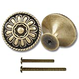 9-Pack of Antique Brass Kitchen Cabinet Knobs Pull - Vintage Drawer and Dresser Round Handles - Antique Gold Knobs with Floral for Rustic Touch