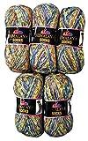 Ilkadim 160-04 - Ovillo de Lana para Tejer Calcetines y Medias (5 Unidades, 100 g), Color Verde, Azul, Naranja y Blanco