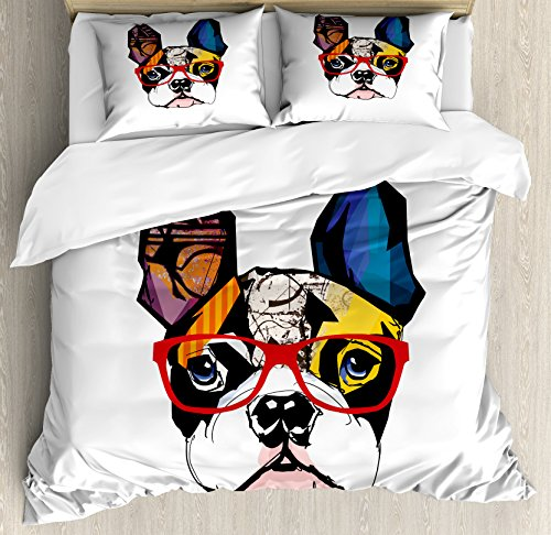 Lunarable Art Duvet Cover Set, French Bulldog Portrait with Hipster Glasses Abstract Modern Colorful Ears and Eyes, Decorative 3 Piece Bedding Set with 2 Pillow Shams, Queen Size, Yellow Ruby