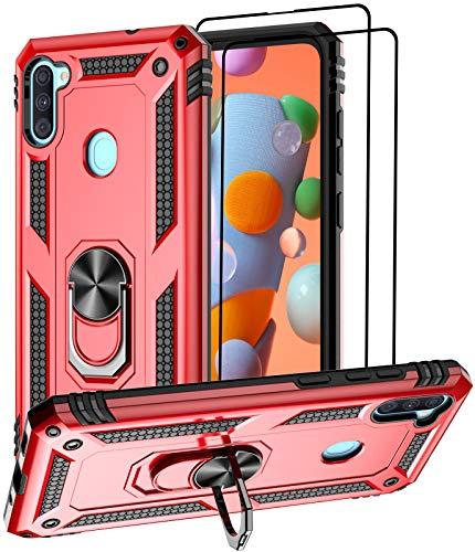 Aliruke Schutzhülle für Samsung Galaxy A11, mit 2 Bildschirmschutzfolien aus gehärtetem Glas, militärische Qualität, Fallprüfung, Handgriffring, Ständer, Schutzhülle für Samsung Galaxy A11 A115, Rot