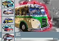 Bus Color (Wandkalender 2022 DIN A2 quer): Farbgewaltige Bilder von Oldtimerbussen (Monatskalender, 14 Seiten )