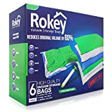 ROKEY Vacuum Storage Bags Variety Pack (2x Jumbo, 2x Large, 2x Medium) Reusable Box. 80% More Space. Double Zip Seal, FREE Travel Hand Pump Included
