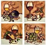 Wine & Cheese Tasting - Decorative Ceramic Art Tile / 4' X 4' Coasters - Set of 4 En Vogue