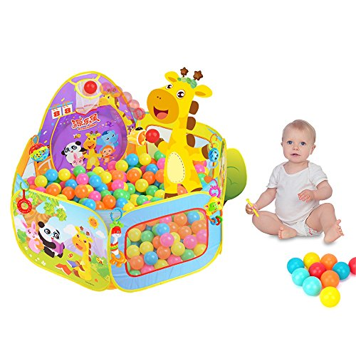 Kids Ball Pit Baby Play Tent, Ball Pit Pool with Basketball Hoop (Balls Not Included)
