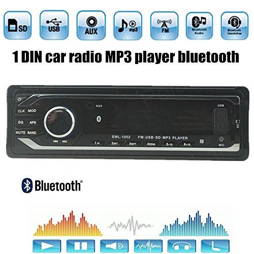 Boomboost 1 DIN Bluetooth Lecteur MP3 Radio FM Stéréo AUXIN/EQ/USB/SD/Loud/Horloge/Télécommande Appels Mains Libres