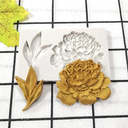 SUNIY Molde de silicona de flores para galletas de chocolate y dulces, herramienta de decoración de pasteles de bricolaje para hornear suministros de cocina peonía