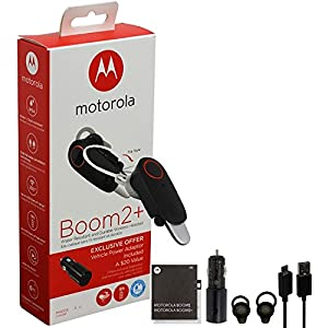 """motorola Boom 2+""""HD Flip Bluetooth - Water Resistant Durable Wireless Headset W/Car Charger, (US Retail Packing, Black (Boom 2+ with CLA)"""