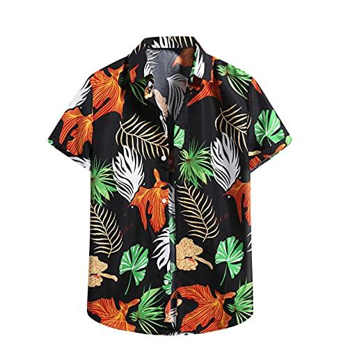 Camisa hawaiana para hombre, de verano, informal, con flores, manga corta, corte ajustado. G_negro. L