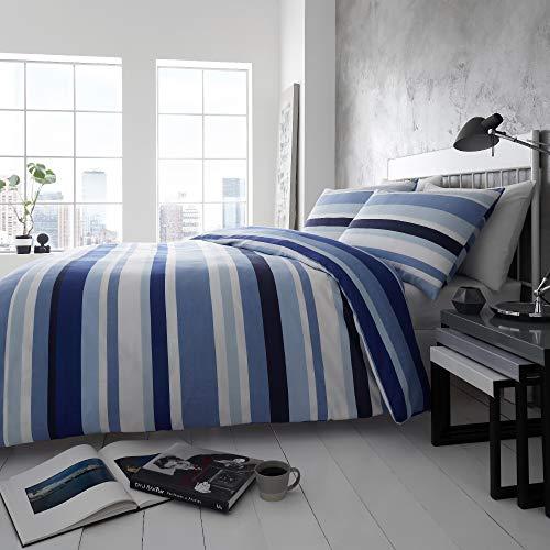 Happy Linen Company Simply Stripes Navy Blue White Reversible Duvet Cover Bedding Set