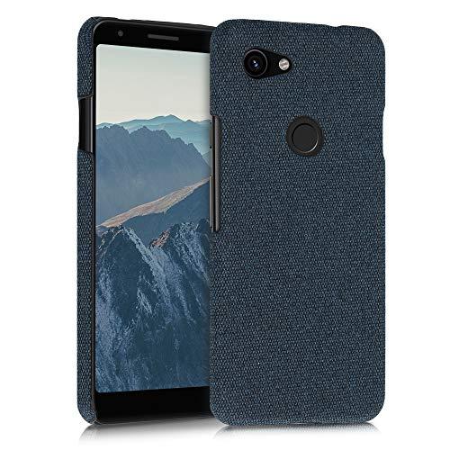 kwmobile Cover Rigida Compatibile con Google Pixel 3a - Custodia Cellulare - Back Cover Case Protettiva in Tessuto - Blu Scuro