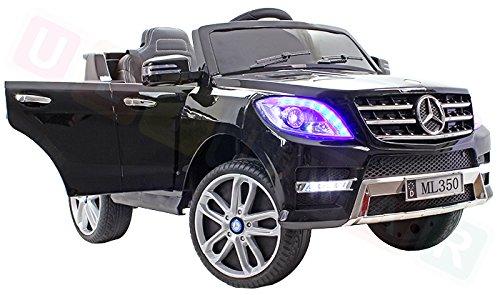 Mercedes ML 350 VIP Schwarz Black Big Fernbedienung XXL Sound Licht Radio EKO-Ledersitz Gurte Kinderauto Elektroauto Fahrzeug
