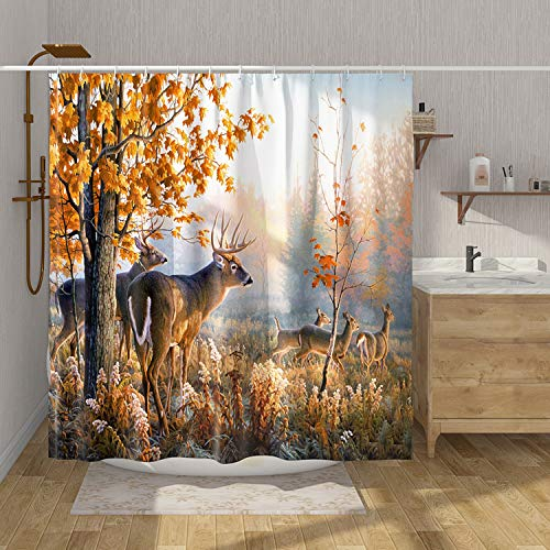 DESIHOM Country Rustic Shower Curtain Polyester 72x72 Inch Forest Deer Shower Curtain Woodland Tree Hunting Camo Theme Shower Curtain