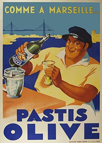Vintage bieren, wijnen en sterke drank 'Pastis Olive', Frankrijk, 1936, 250gsm Zacht-Satijn Laagglans Reproductie A3 Poster
