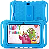 GBD Kids Tablet with WiFi,7 Inch IPS HD Display, Quad Core Android 9.0, 2MP Dual Camera,16GB ROM, Kids Software Pre-Installed, Handheld Stand Case Toddler Learning Pad Tablet for Boys Girls Xmas,Blue