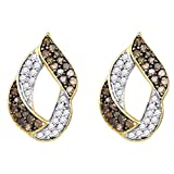 The Diamond Deal 10kt Yellow Gold Womens Round Cognac-brown Color Enhanced Diamond Cluster Earrings 1.00 Cttw