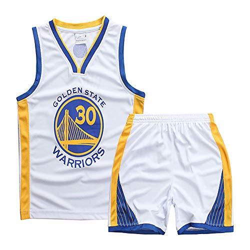 HGFR Camiseta de Baloncesto de Verano para niños, Camiseta de Ventilador número 30 de Stephen Curry de Golden State Warriors, Chaleco y Pantalones Cortos de Malla de Secado rápido White-XS