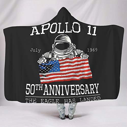 DOGCATPIG Manta con capucha Astronaut Apollo 11 50th Anniversary Wearable Manta con capucha para adultos de la NASA blanca 60x80 pulgadas