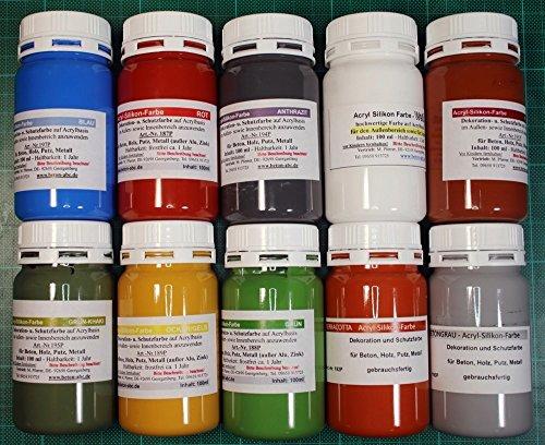 Acrylsilikon Farben 10 x 100 ml.für innen und außen (EUR 2,99/100 ml)