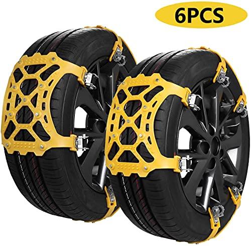 Cadena de Nieve,6pcs Universales Cadenas Nieve Coche Antideslizante de Neumático de Nieve Chains...