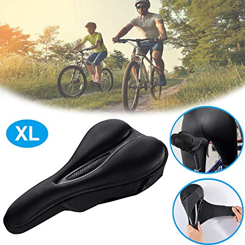 Exercise Bike Seat Cover Extra Soft Gel Padded Bike Seat Cushion for Woman and Man Best Stock Bicycle Seat Replacement for Mountain Bikes Road Bikes XL