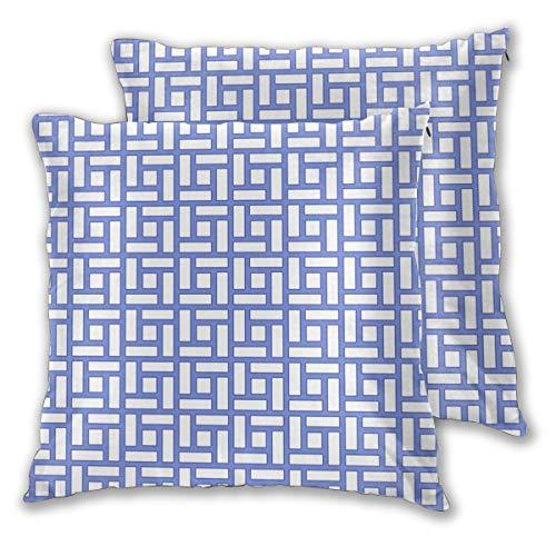 Art Fan-Design Kissenbezug Chippendale quadratisch Blau 2er-Set Quadratisch Überwurf Kissenbezug Sham Home für Sofa Stuhl Couch/Schlafzimmer Dekokissen