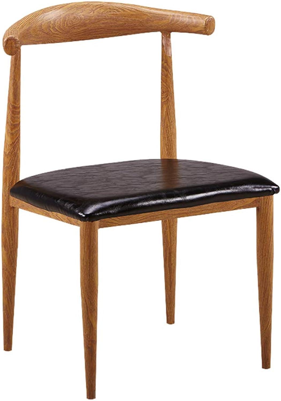 Simple Lounge Chair, Imitation Wood Ox Horn Chair - Western Restaurant Cafe Tea Shop Back Chair - Multi-color Optional (color   Wood Grain+PU Black)