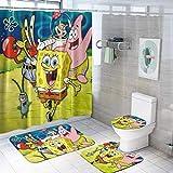 SOMIK Spongebob Duschvorhang-Sets mit rutschfesten Teppichen, WC-Deckelbezug & Badematte, langlebig, wasserdicht, Duschvorhänge mit 12 Haken, schnelltrocknend, Duschvorhänge für Badezimmer