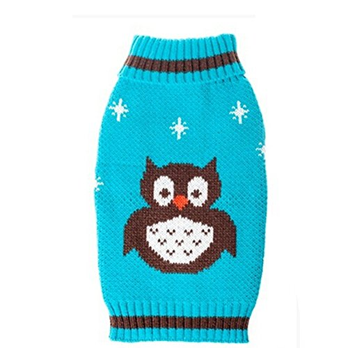 JJ Store Pull en tricot chaud pour chien de petite et moyenne taille Imprimé hibou