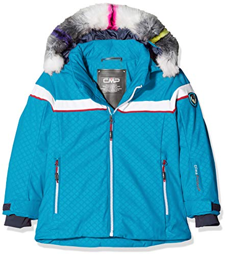 CMP Mädchen Jacke Wattierte 7000 Eco Fur Skijacke, Blue Jewel, 140, 38W0395