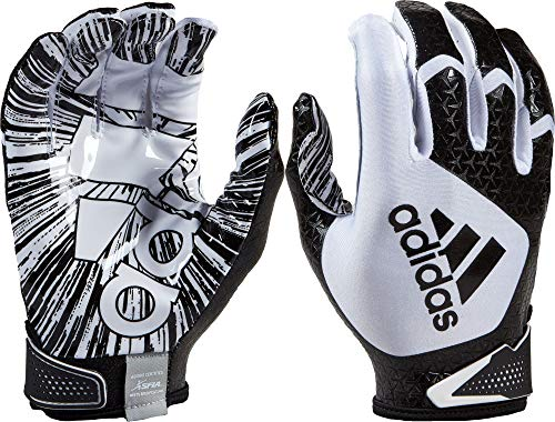 adidas Youth ScorchLight 5.0 Receiver Gloves (White/Black, Large)