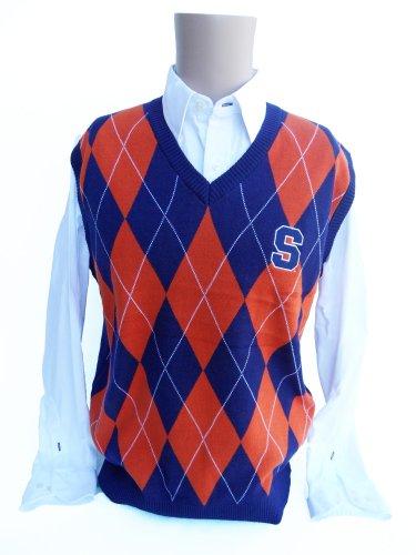 Donegal Bay NCAA Syracuse Argyle Sweater Weste, Größe L, Orange